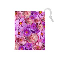 Flowers Blossom Bloom Nature Color Drawstring Pouches (medium)