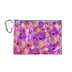 Flowers Blossom Bloom Nature Color Canvas Cosmetic Bag (m)