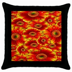 Gerbera Flowers Nature Plant Throw Pillow Case (black)