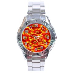 Gerbera Flowers Nature Plant Stainless Steel Analogue Watch