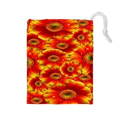 Gerbera Flowers Nature Plant Drawstring Pouches (large)