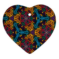 Grubby Colors Kaleidoscope Pattern Ornament (heart)