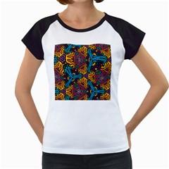 Grubby Colors Kaleidoscope Pattern Women s Cap Sleeve T