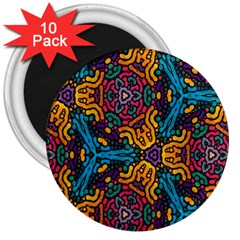 Grubby Colors Kaleidoscope Pattern 3  Magnets (10 Pack)