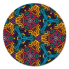 Grubby Colors Kaleidoscope Pattern Magnet 5  (round)