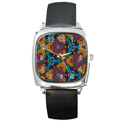Grubby Colors Kaleidoscope Pattern Square Metal Watch