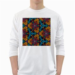 Grubby Colors Kaleidoscope Pattern White Long Sleeve T Shirts