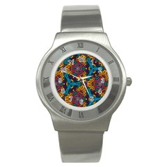 Grubby Colors Kaleidoscope Pattern Stainless Steel Watch