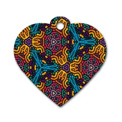 Grubby Colors Kaleidoscope Pattern Dog Tag Heart (one Side)