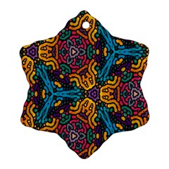 Grubby Colors Kaleidoscope Pattern Snowflake Ornament (two Sides)