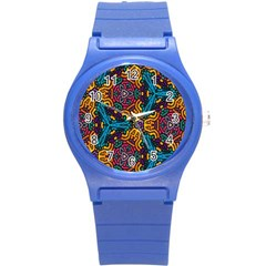 Grubby Colors Kaleidoscope Pattern Round Plastic Sport Watch (s)