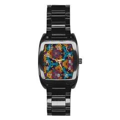 Grubby Colors Kaleidoscope Pattern Stainless Steel Barrel Watch