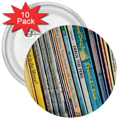Bookcase Books Data Education 3  Buttons (10 Pack)