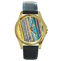 Bookcase Books Data Education Round Gold Metal Watch