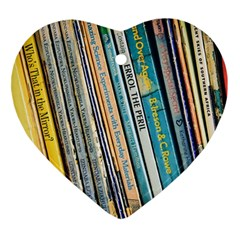 Bookcase Books Data Education Heart Ornament (two Sides)