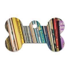 Bookcase Books Data Education Dog Tag Bone (one Side)
