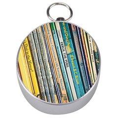 Bookcase Books Data Education Silver Compasses