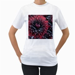 Flower Fractals Pattern Design Creative Women s T Shirt (white) (two Sided)