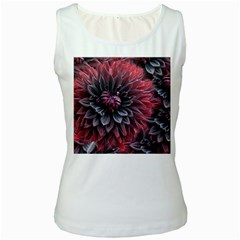 Flower Fractals Pattern Design Creative Women s White Tank Top