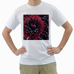 Flower Fractals Pattern Design Creative Men s T Shirt (white) (two Sided)