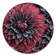 Flower Fractals Pattern Design Creative Magnet 5  (round)