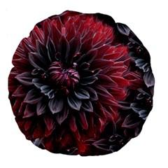 Flower Fractals Pattern Design Creative Large 18  Premium Flano Round Cushions