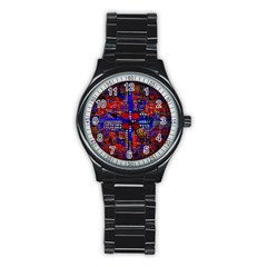 Board Interfaces Digital Global Stainless Steel Round Watch