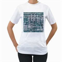Board Circuit Control Center Women s T Shirt (white) (two Sided)