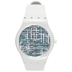 Board Circuit Control Center Round Plastic Sport Watch (m)
