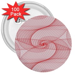 Red Pattern Abstract Background 3  Buttons (100 Pack)