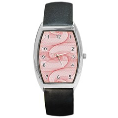 Red Pattern Abstract Background Barrel Style Metal Watch