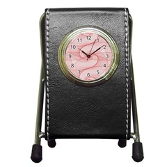 Red Pattern Abstract Background Pen Holder Desk Clocks