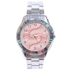 Red Pattern Abstract Background Stainless Steel Analogue Watch