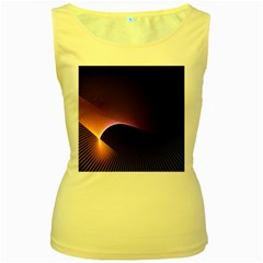 Star Graphic Rays Movement Pattern Women s Yellow Tank Top