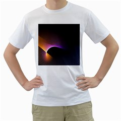 Star Graphic Rays Movement Pattern Men s T Shirt (white) (two Sided)