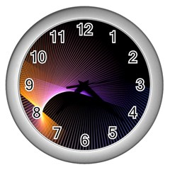 Star Graphic Rays Movement Pattern Wall Clocks (silver)