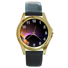 Star Graphic Rays Movement Pattern Round Gold Metal Watch