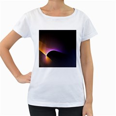 Star Graphic Rays Movement Pattern Women s Loose Fit T Shirt (white)