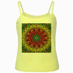 Background Fractals Surreal Design Yellow Spaghetti Tank