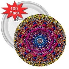 Background Fractals Surreal Design 3  Buttons (100 Pack)