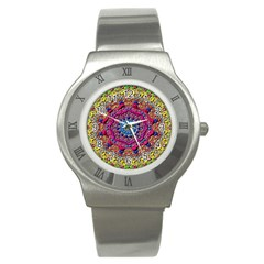 Background Fractals Surreal Design Stainless Steel Watch
