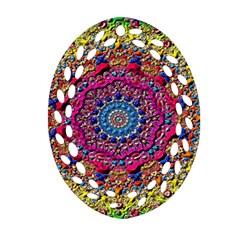Background Fractals Surreal Design Oval Filigree Ornament (two Sides)