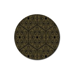 Texture Background Mandala Rubber Round Coaster (4 Pack)