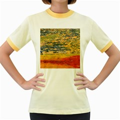 The Framework Drawing Color Texture Women s Fitted Ringer T Shirts