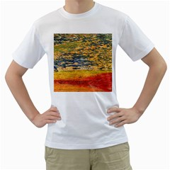 The Framework Drawing Color Texture Men s T Shirt (white) (two Sided)