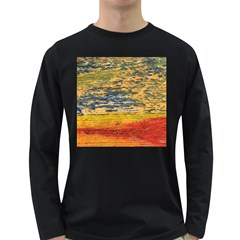 The Framework Drawing Color Texture Long Sleeve Dark T Shirts