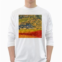 The Framework Drawing Color Texture White Long Sleeve T Shirts