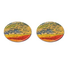 The Framework Drawing Color Texture Cufflinks (oval)
