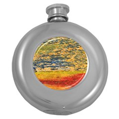 The Framework Drawing Color Texture Round Hip Flask (5 Oz)