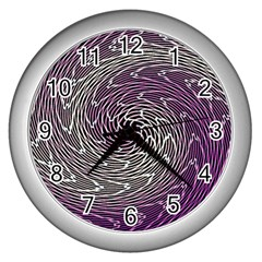 Graphic Abstract Lines Wave Art Wall Clocks (silver)